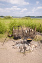 Campfire in a reconstruction of a viking village Royalty Free Stock Photos