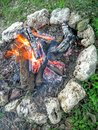 Campfire with Rock Circle Royalty Free Stock Photo
