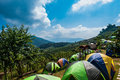 Campgrounds on mon jam chiang mai thailand Royalty Free Stock Image