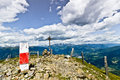 Campiler mountain south tyrol summit cross at mount Stock Photos