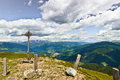 Campiler mountain south tyrol summit cross at mount Stock Photo