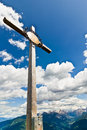 Campiler mountain south tyrol summit cross at mount Royalty Free Stock Images