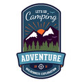 Camping adventure badge emblem wilderness graphic design Royalty Free Stock Images