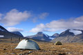 Camping in arctic mountains with very good weather Stock Image