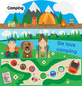 Camping Banner People with Dog Royalty Free Stock Photo