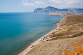 Camping on the beach in silent bay crimea peninsula ukraine Royalty Free Stock Photo