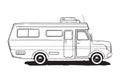 Camping caravan. Motorhome, amper car. Black and white van, hand drawn illustration.