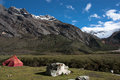 Camping in Cordillera Blanca, Peru Royalty Free Stock Photos
