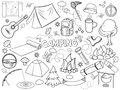 Camping design colorless set vector illustration coloring book black and white line art Stock Photo