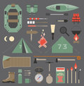 Camping elements isolated vector for travel and infographics Stock Photo