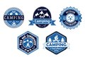 Camping emblems and labels for travel design with different blue frame shapes with the text park campground outdoor exploration Royalty Free Stock Photo
