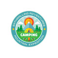 Camping enthralling adventures mountain expedition vector badge illustration in flat style summer sign design Stock Images