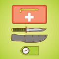 Camping equipment. First aid kit, knife and cover, compass. Royalty Free Stock Photo