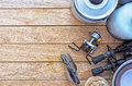 Camping fire equipment on the table lying a wooden topic of leisure Royalty Free Stock Image