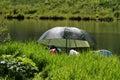Camping or Fishing on small lake Royalty Free Stock Photo