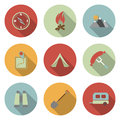 Camping flat vector icons set this is file of eps format Royalty Free Stock Images