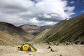 Camping at Ganda-La high Base Camp Royalty Free Stock Photo