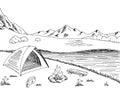 Camping graphic black white mountain landscape sketch illustration