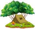 Camping ground with tent and campfire Royalty Free Stock Photo