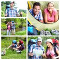 Camping happy couple tourists summer collage Royalty Free Stock Images