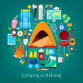 Camping and Hiking Icons. Healthy Lifestyle Concept with Tent and Camper Equipment