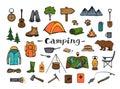 Camping hiking travel roadtrip adventure gear Royalty Free Stock Photo