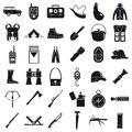 Camping Hunting Equipment Icons Set, Simple Style