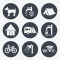 Camping icons circular buttons set illustration Stock Photos