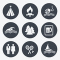Camping icons circular buttons set illustration Stock Image