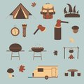 Camping icons isolated on blue background Stock Photo