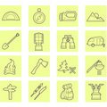 Camping icons set Stock Photo