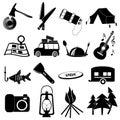 Camping icons set Royalty Free Stock Photo