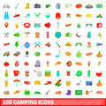 100 camping icons set, cartoon style