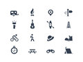 Camping icons set of and travel Royalty Free Stock Images