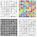 100 camping icons set vector variant