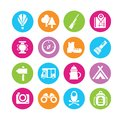 Camping icons and travel in colorful round buttons Stock Photography