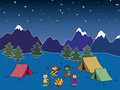 Camping illustration of in the night Royalty Free Stock Image