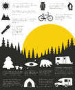 Camping infographic and outdoor activity with sample data Royalty Free Stock Image