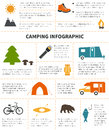 Camping infographic and outdoor activity with sample data Stock Images