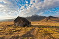 Camping on kamchatka old house island russia Royalty Free Stock Images