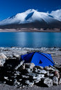 Camping by the Laguna Verde Stock Image