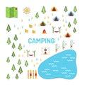 Camping map set vector