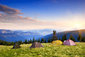 Camping in the mountains morning landscape with Royalty Free Stock Photography