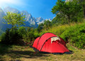 Camping in mountains tourist tent stands the grbaja valley prokletije national park montenegro Royalty Free Stock Photo