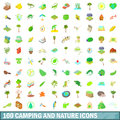 100 camping and nature icons set, cartoon style Royalty Free Stock Photo