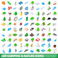 100 camping nature icons set, isometric 3d style