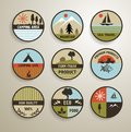 Camping And Nature Labels Set.