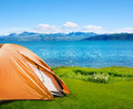 Camping near sea tourist tent in seaside camp Royalty Free Stock Photography