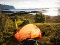 Camping near seaside in norway Stock Image