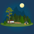 Camping night scene with caravan, tent and campfire